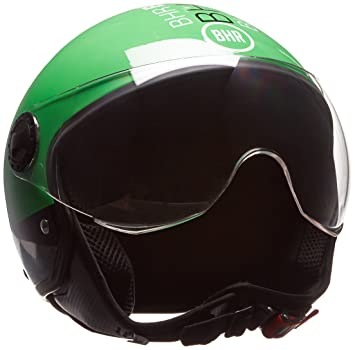 BHR - Casco para moto Demi-Jet Línea One 801, color verde fluorescente