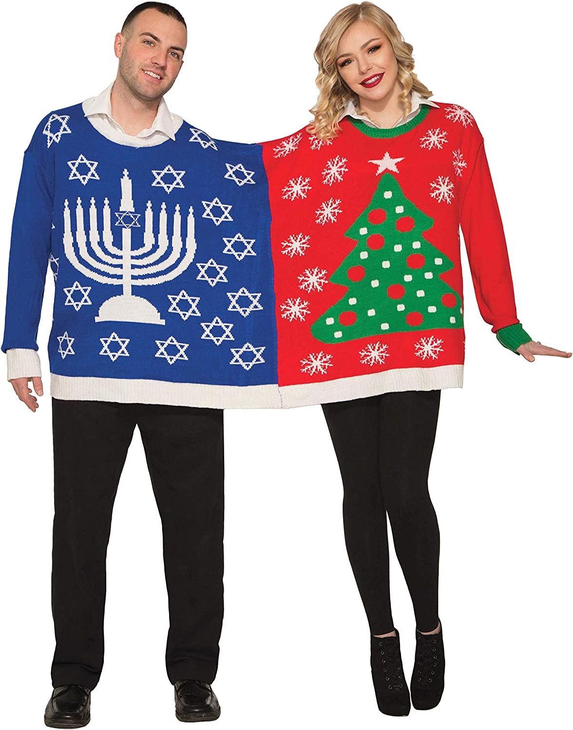 Forum Novelties Ugly Christmas and Chanukah Sweater for Two, Multi