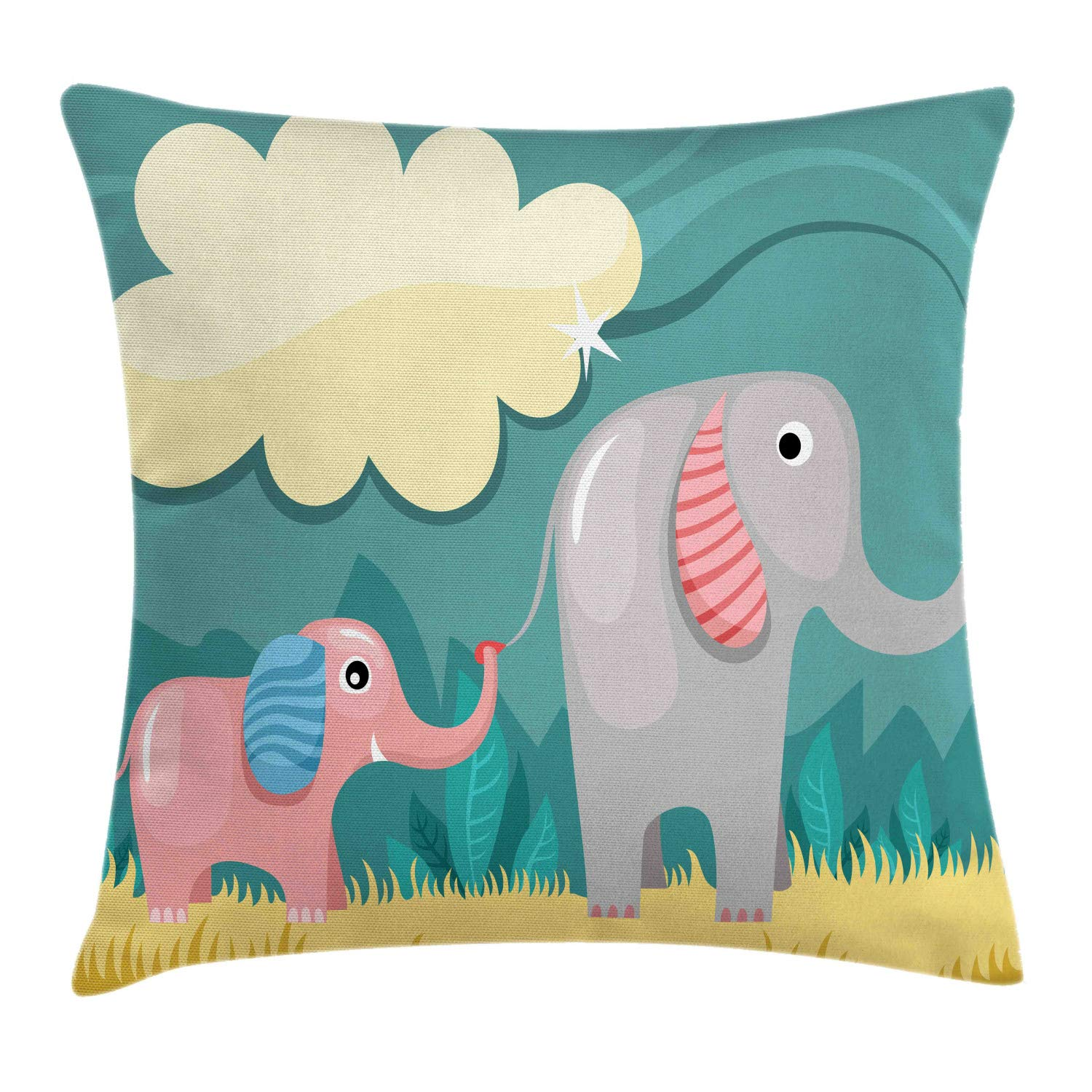 Ambesonne Elephant Throw Pillow Cushion Cover, Nursery Style Graphic of Animal Baby and Mom Pastel Cloud, Decorative Square Accent Pillow Case, 28'' X 28'', Cadet Blue Multicolor by Ambesonne
