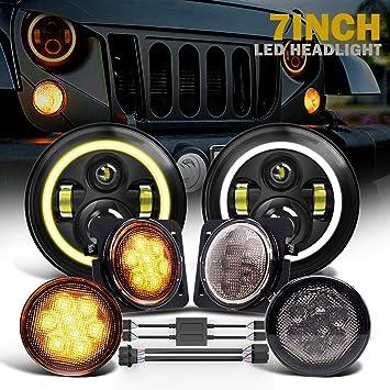 LED Fog Light DRL Combo Kit for Jeep Wrangler JK 2007-2017 LED Halo Headlights