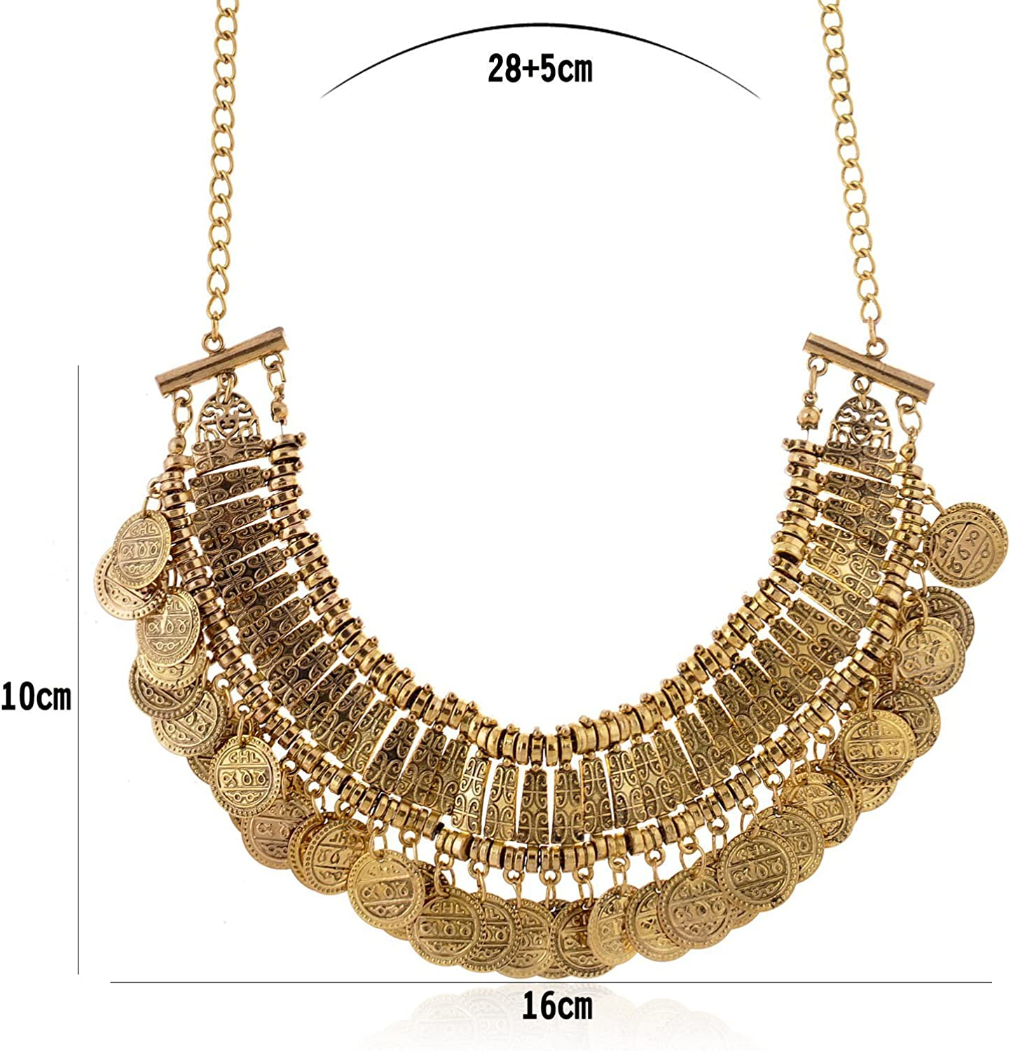 Pendant Tribal Long Chain Ethnic Boho Coin Clavicle Tassel Jewelry Necklace