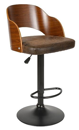 Ts Ideen 1x Design Club Barhocker Barstuhl Küchen Esszimmer Stuhl Sitz In  Braun + Holz