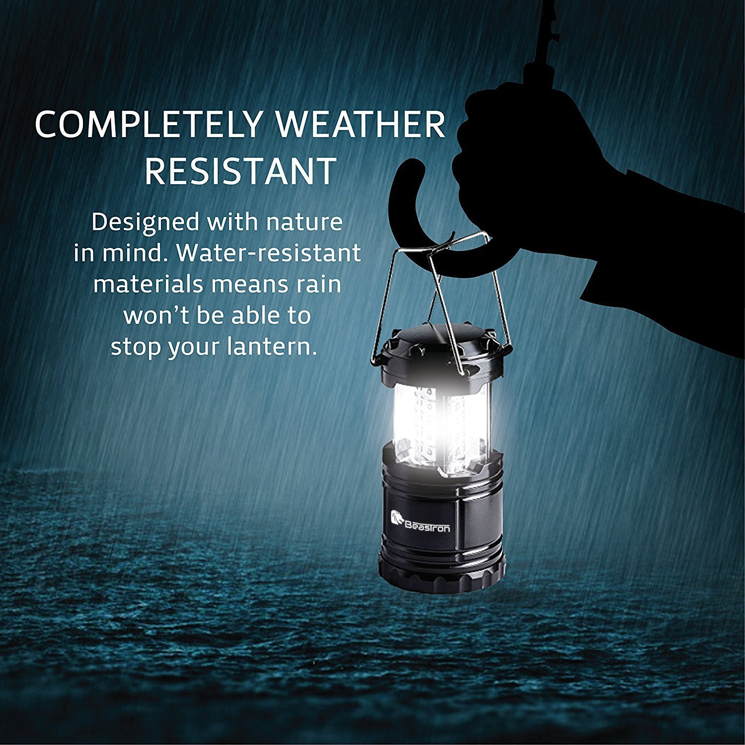 Hurricane Power Outage 2 Pack Black, Collapsible BEASTRON Portable LED Camping Lantern Flashlights with AA Batteries,Survival Kit for Emergency Light Storm CL-10 CyberVision Electronics Inc Outage  Outdoor Portable Lanterns