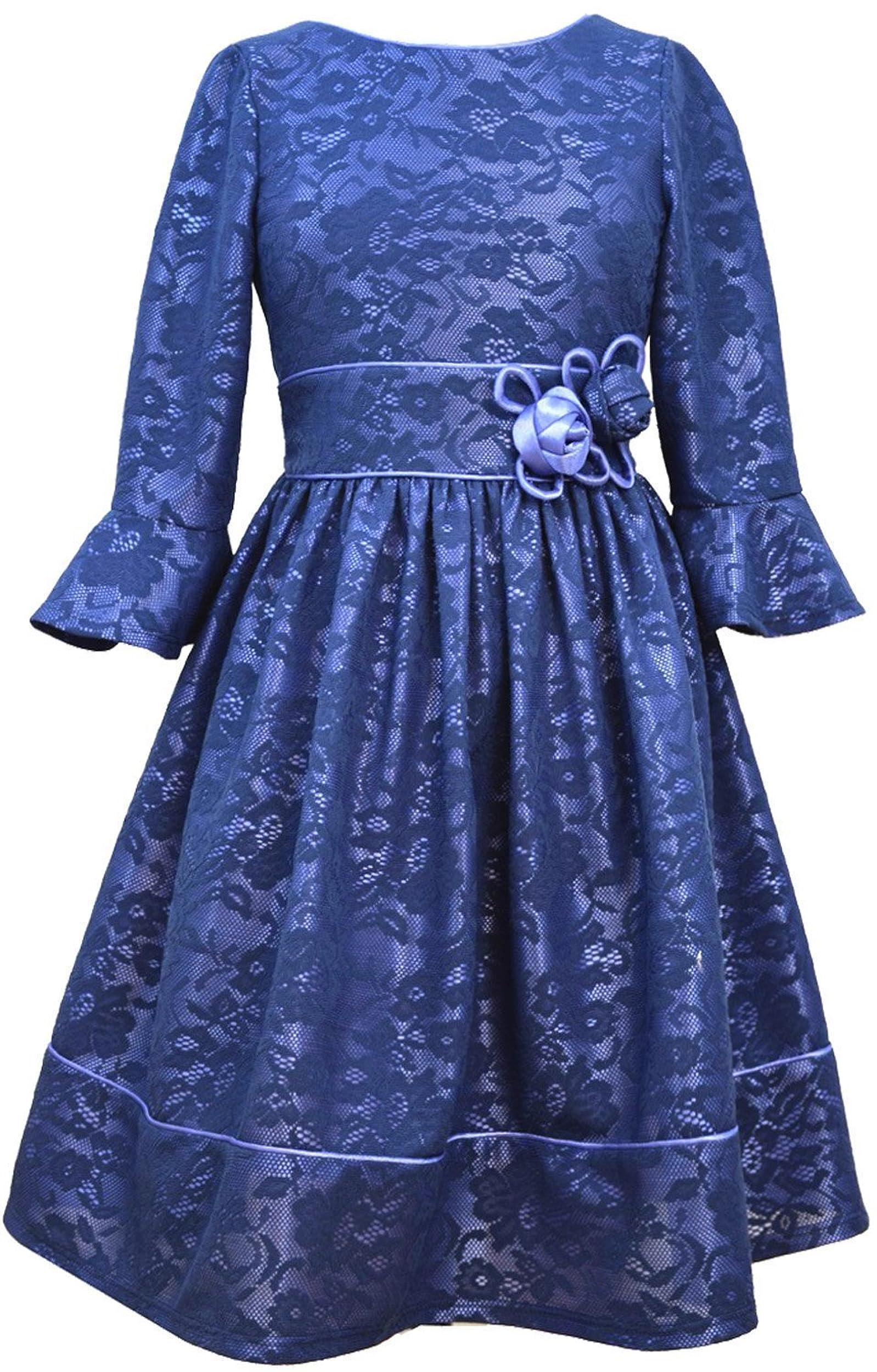 c0a40e05cc7 Details about Big Girls Tween 7-16 Navy-Blue Bell Bonded Lace Social Party  Dress