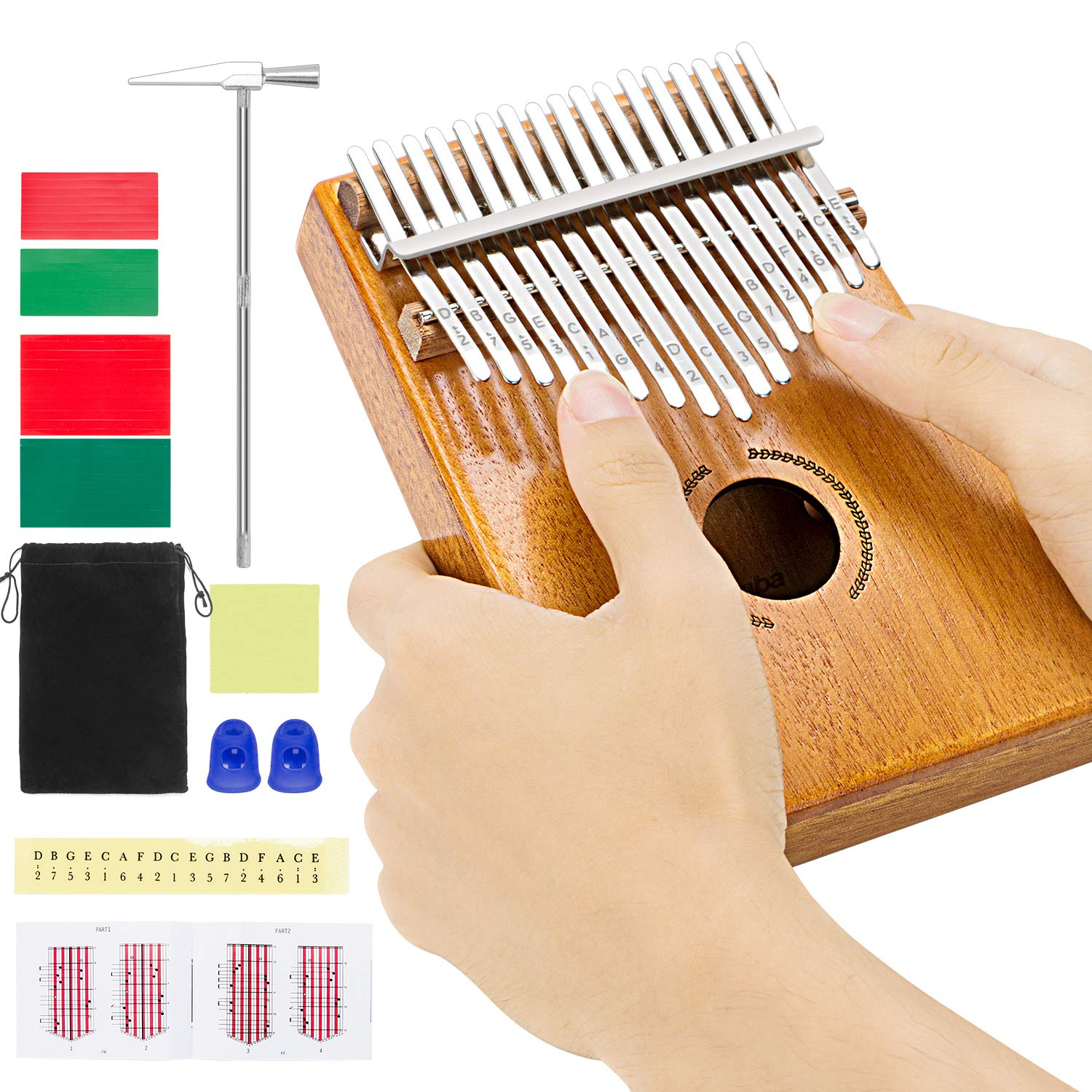 Kalimba Thumb Piano 17 Keys with Engraved Notes, RenFox Finger Piano with Study Instructions and Tuning Hammer Portable African Mbira Sanza Gift for Kids Adult Beginners
