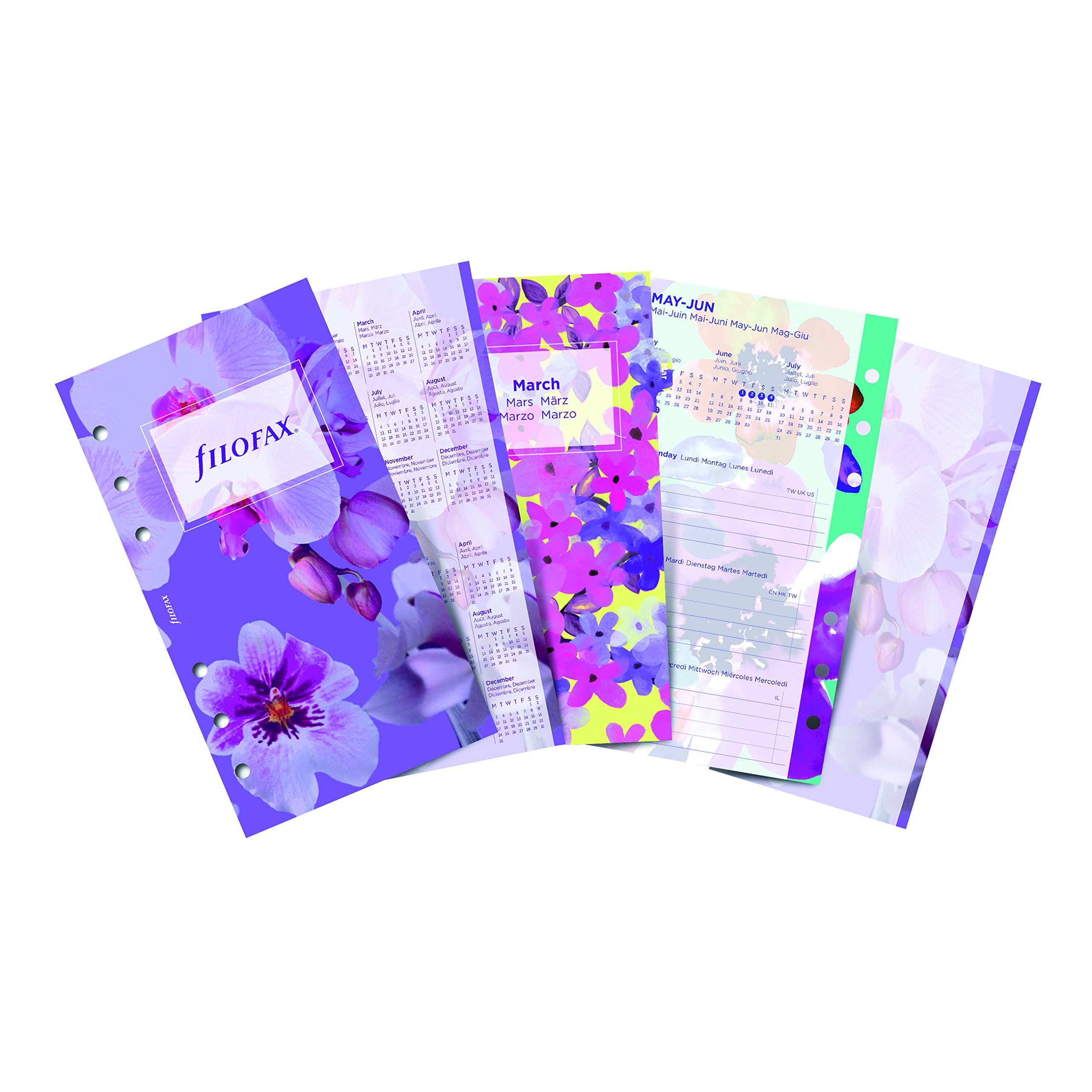 Filofax 2018 Refill, Personal/Personal Compact, Week to View, Illustrated Floral, 5 Languages, 6.75 x 3.75 inches (C6341-18)
