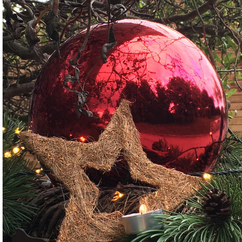 Christbaumkugeln Außenbereich.4 Große Weihnachtskugeln Christbaumkugeln Rot Glänzend 25 Cm Durchmesser Hochwertig Für Innen Und Wetterfest Für Aussen Mit Aufhängung Und