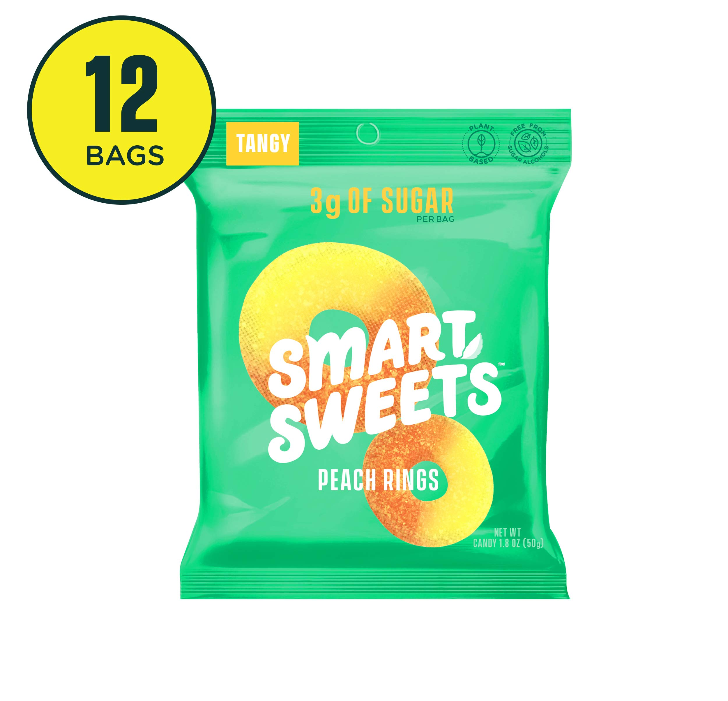 SmartSweets Peach Rings 1.8 Oz Bags (Box Of 12), Candy With Low-Sugar (3g) & Low Calorie (80)- Free of Sugar Alcohols & No Artificial Sweeteners, Sweetened With Stevia by SmartSweets