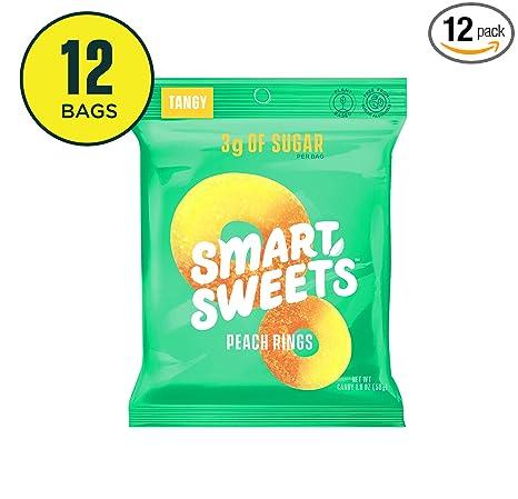 Anillos de melocotón SmartSweets, bolsas de 1.8 oz (caja de ...