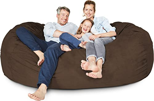 Lumaland Luxury 7-Foot Bean Bag Chair with Microsuede Cover Brown, Machine Washable Big Size Sofa and Giant Lounger Furniture for Kids, Teens and Adults
