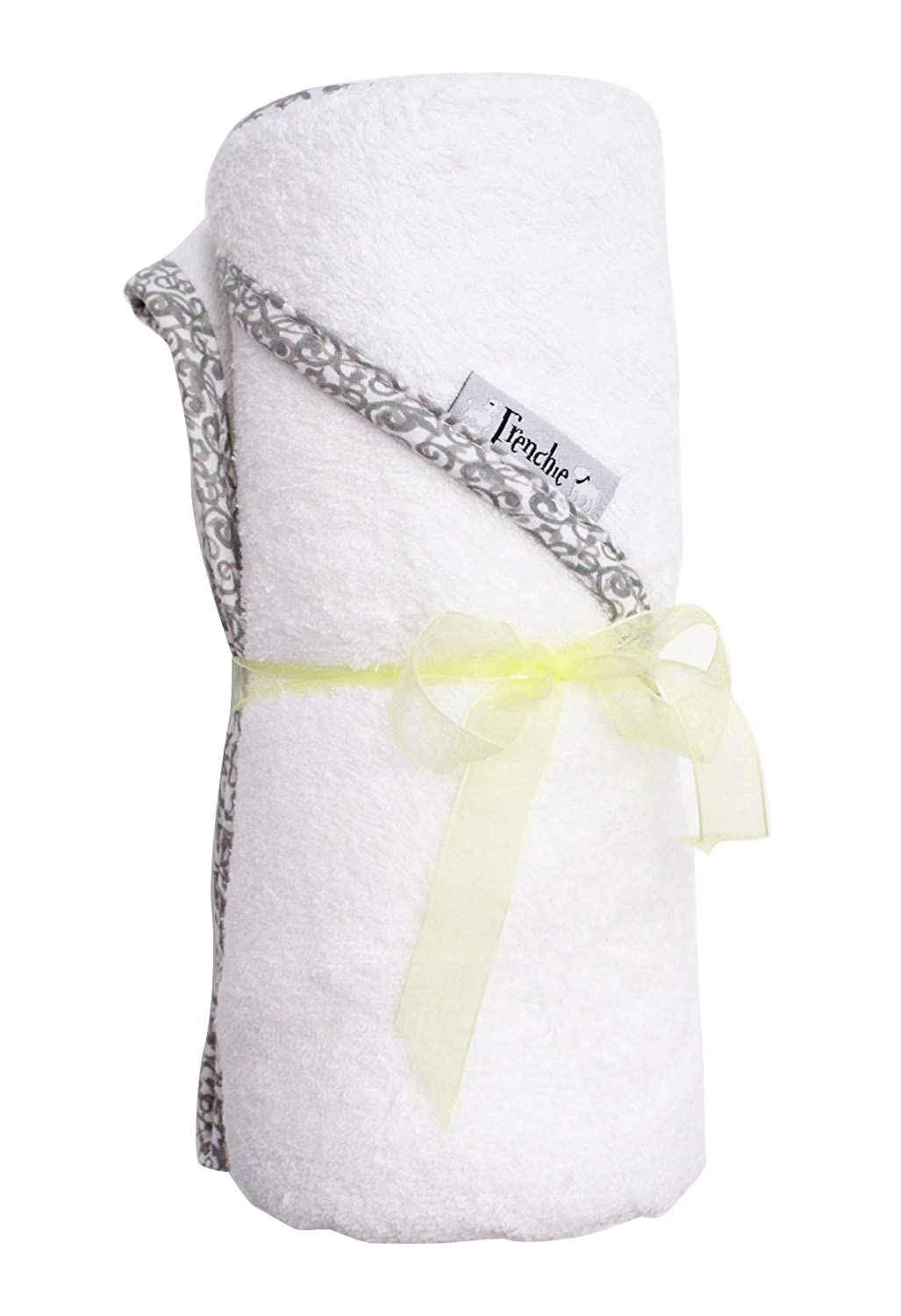by Frenchie Mini Couture Absorbent Hooded Towel White with Swirl Print Extra Large