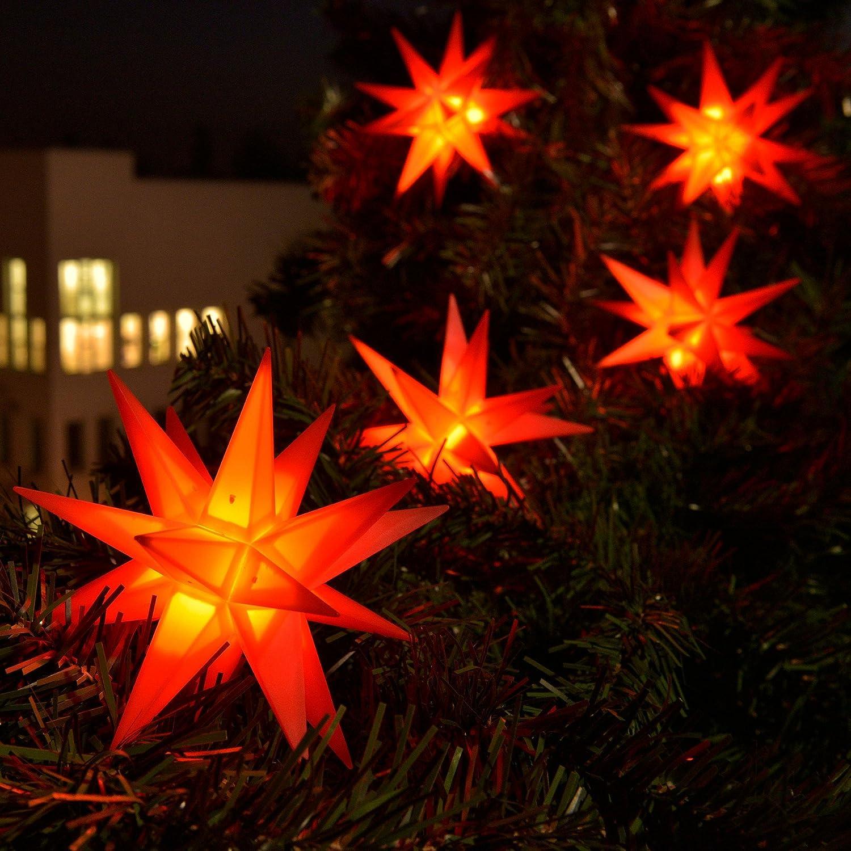 3D LED 9er Sternenkette für innen & außen Stern Adventsstern Weihnachtsstern Neuheit 2017 (rot) [Energieklasse A+] DecoTrend