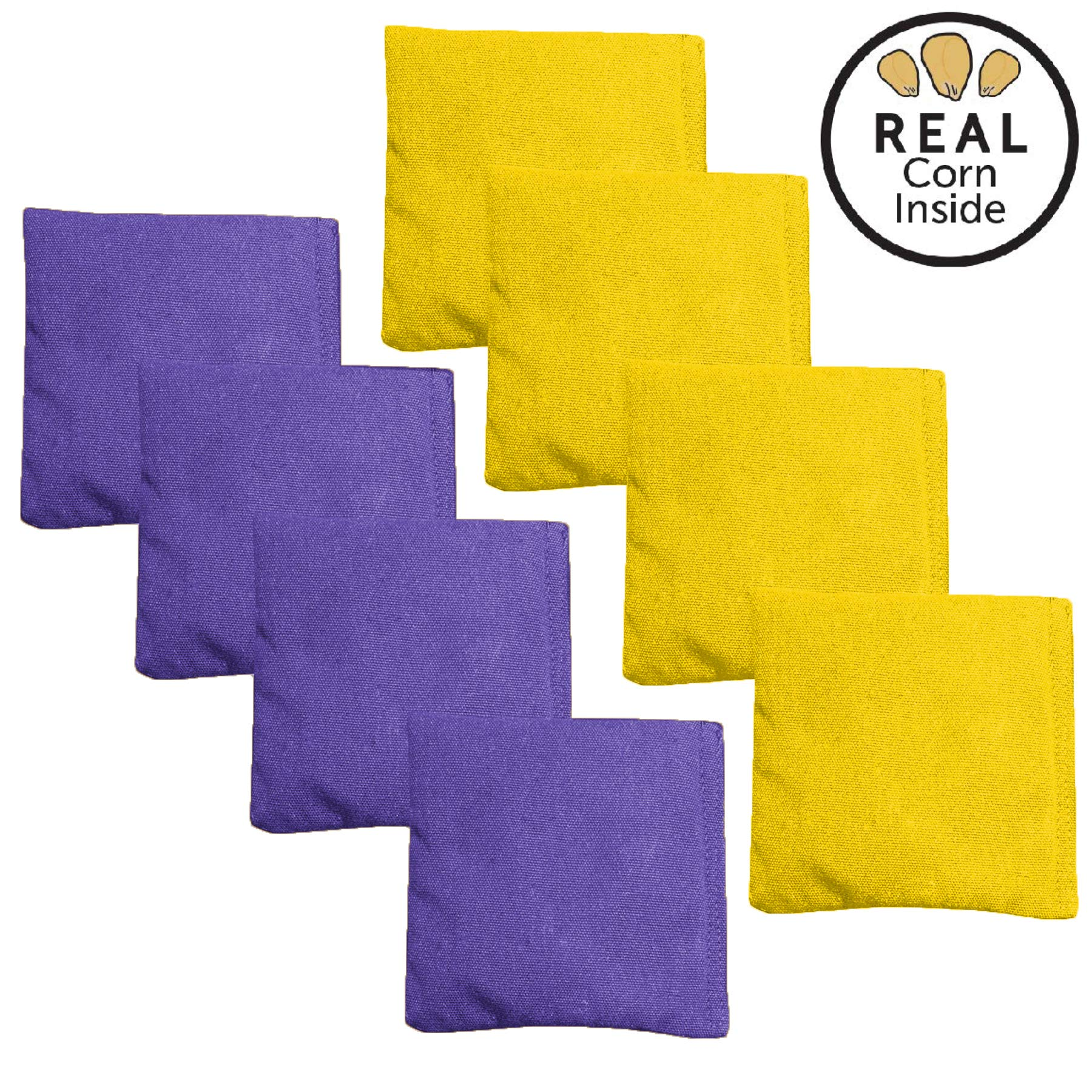 Corn Filled Cornhole Bags - Set of 8 Bean Bags for Corn Hole Game - Regulation Size & Weight - Purple & Yellow by Play Platoon