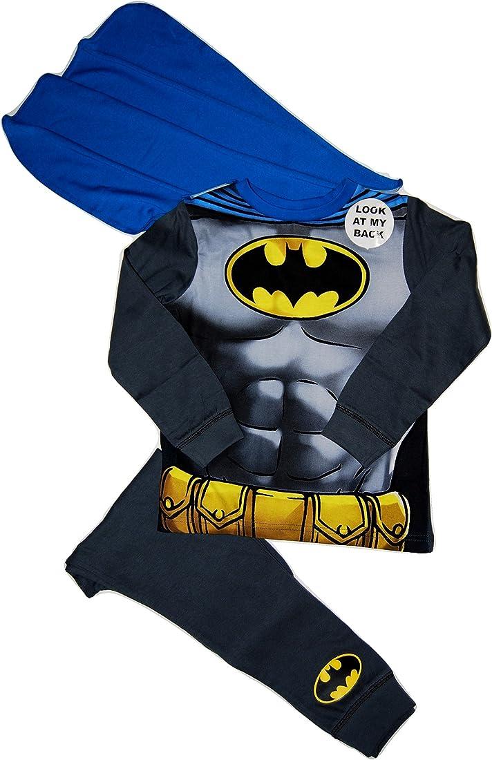Marvel - pigiama da bambino, motivo batman, mantello staccabile, utilizzabile come costume, età2-3/3-4/5-6/7-8 B01CGHEVBI