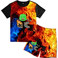 Mdetyms Teens Jelly Slogoman T-Shirt and Shorts Suit Soft 2 Piece Shorts Set for Boys Girls