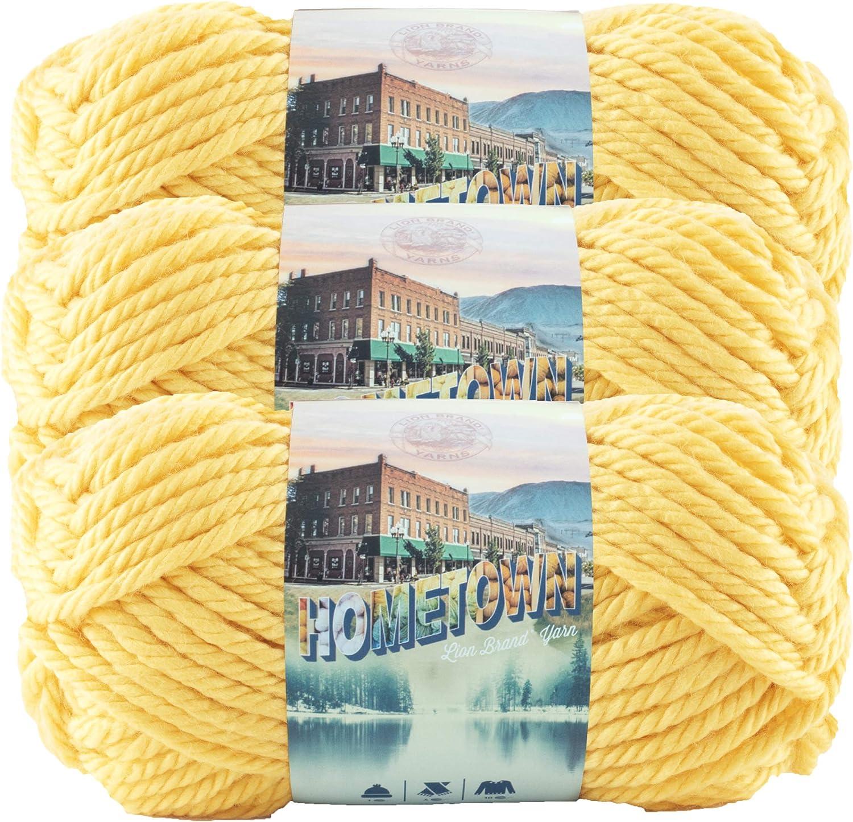 Lion Brand Yarn (3 Pack) 135-158J Hometown Yarn, Pittsburgh Yellow