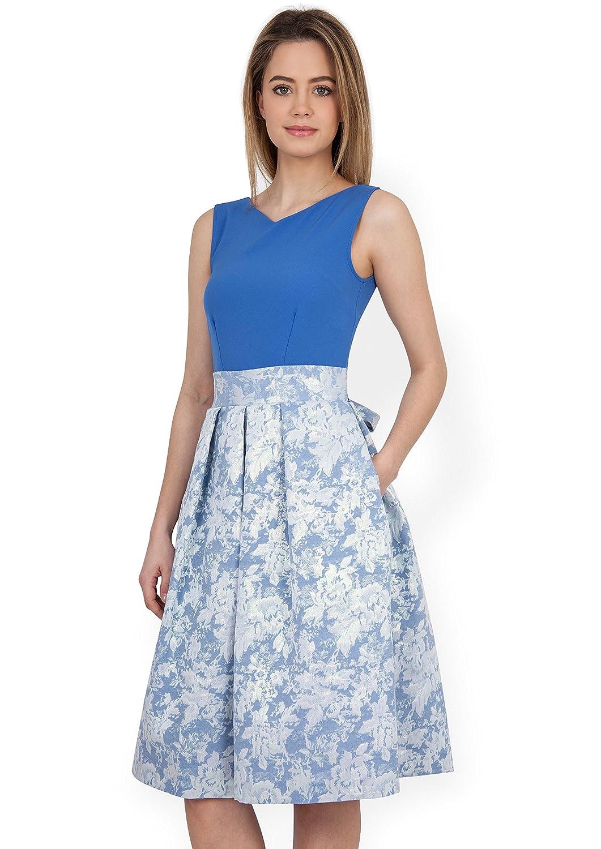 Closet V Neck Metallic Jacquard Dress