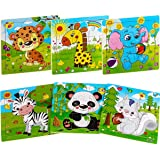 Aitey Wooden Jigsaw Puzzles for Kids Ages 2-5 Toddler Puzzles 9 Pieces Preschool Educational Learning Toys Set Animals Puzzle