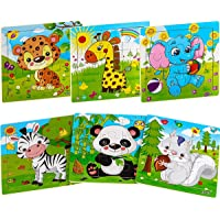 Aitey Wooden Jigsaw Puzzles for Kids Ages 2-5 Toddler Puzzles 9 Pieces Preschool Educational Learning Toys Set Animals…