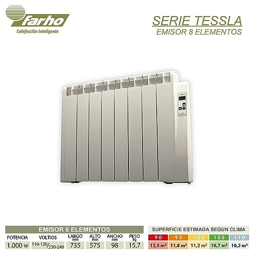 farho Tessla - Radiador Eléctrico de bajo Consumo 1000 W, Digital Programable y con opción WiFi - Emisor Térmico Ideal para estancias hasta 12,50 m2-20 AÑOS ...