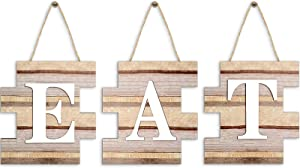 3 Pieces Eat Sign Wall Decor, Wooden EAT Letters Wall Hanging Decoration, Rustic Farmhouse Sign for Home Dining Living Room Bar Cafe Kitchen (Classic Color)