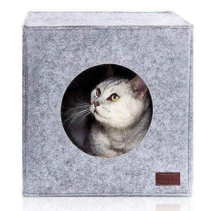 PiuPet® Cama de Gato Incl. cojín, Casa de Gato Adecuada para IKEA® Kallax & Expedit | Cueva Comoda en Gris, óptica de Fieltro, Diseño Elegante y ...