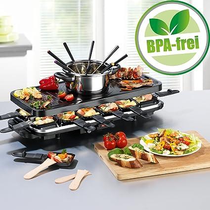 Juego de raclette y fondue de parrilla eléctrico, para 4-6-