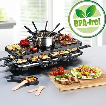 Juego de raclette y fondue de parrilla eléctrico, para 4-6-8-12 personas, piedra de ...