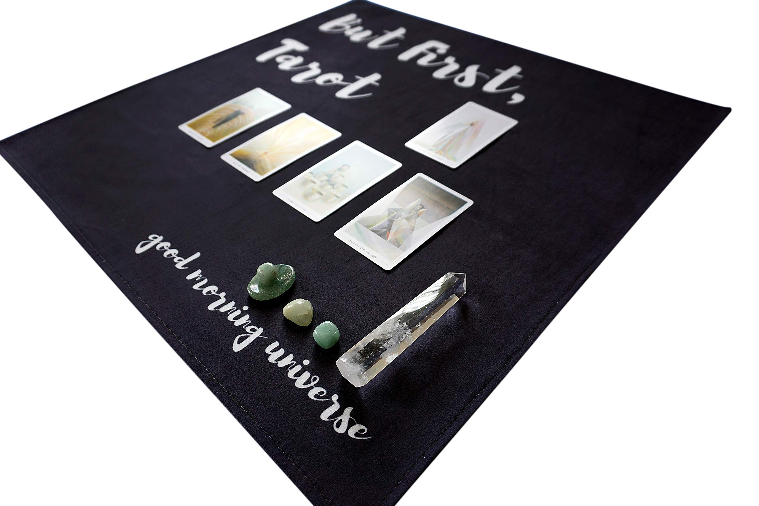 Altar Tarot Cloth with Good Morning Universe (Large, Black, 24 inches x 24 inches) by Hidden Crystal Tarot (Image #4)