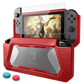 Funda para Nintendo Switch con Protector de Pantalla,HEYSTOP TPU PC Carcasa de Protección para Nintendo Switch Consola,Anti-Choques/Arañazo (Rojo)