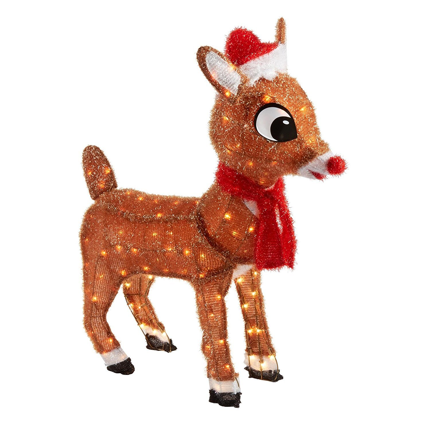 36'' Pre-Lit - Rudolph the Red-Nosed Reindeer - Soft Tinsel, Indoor or Outdoor, Clear Lights