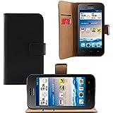 iProtect Kunstledertasche im Bookstyle schwarz für Huawei Ascend Y330 Wallet Schutzhülle mit Standfunktion