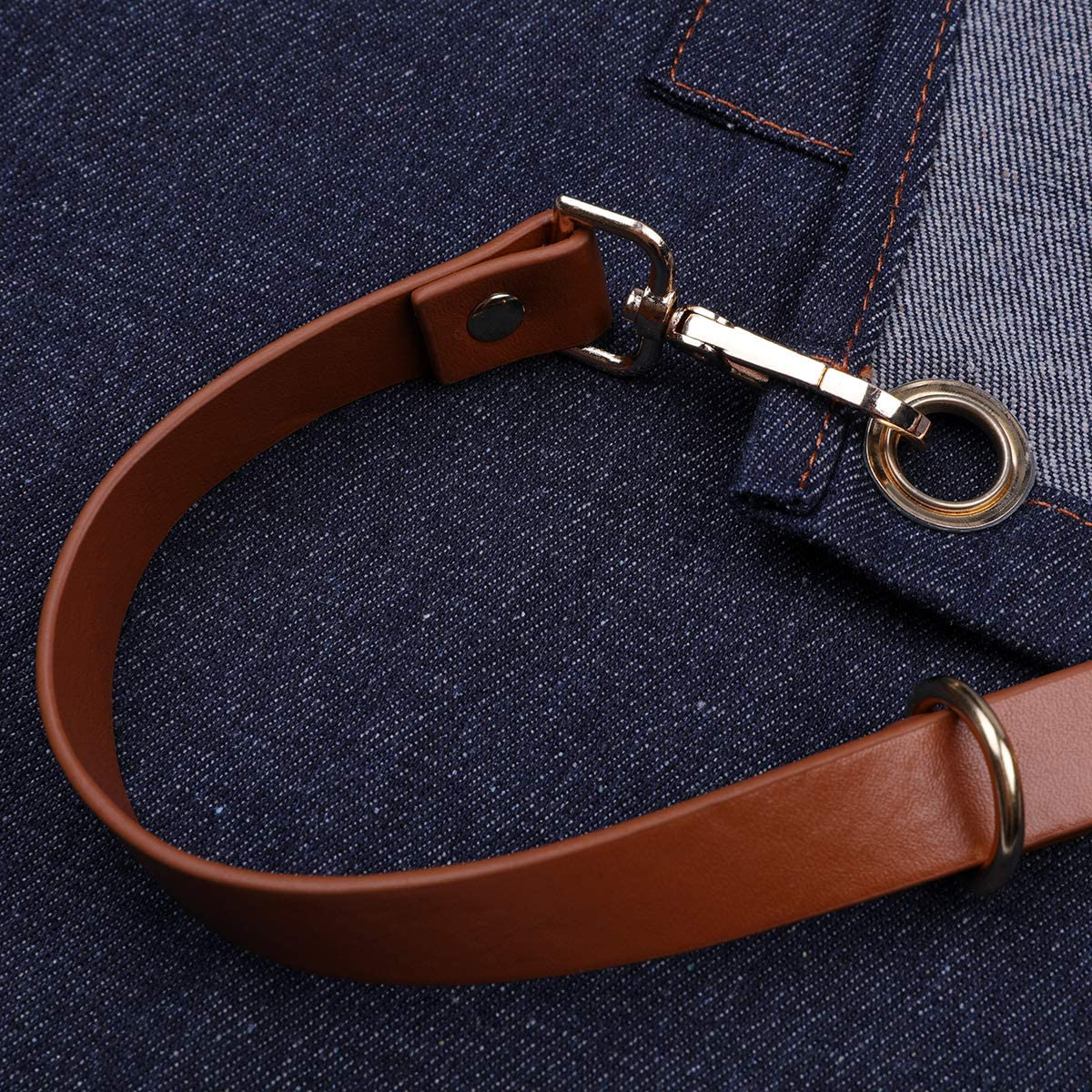 Style Drew Midnight Bleu Marine Neoviva Utilitaire Durable Tablier Denim Workwear Outil avec 5/Poches et Croise Dos lani/ères de Cuir pour Homme et Femme