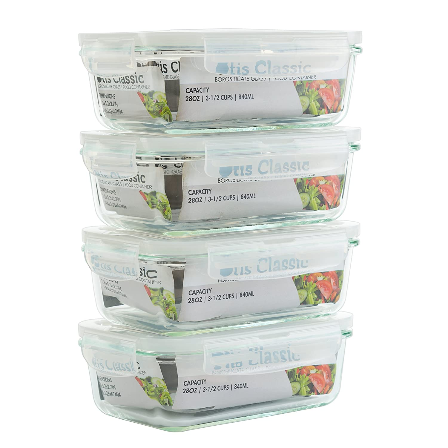 [4-Pack 28oz] Glass Food Storage Containers with Locking Lids - Glass Meal Prep Containers with Lids - Lunch Bento Boxes - 1 Compartment - 4pk Box Set - Transparent Lids - BPA Free and Dishwasher Safe