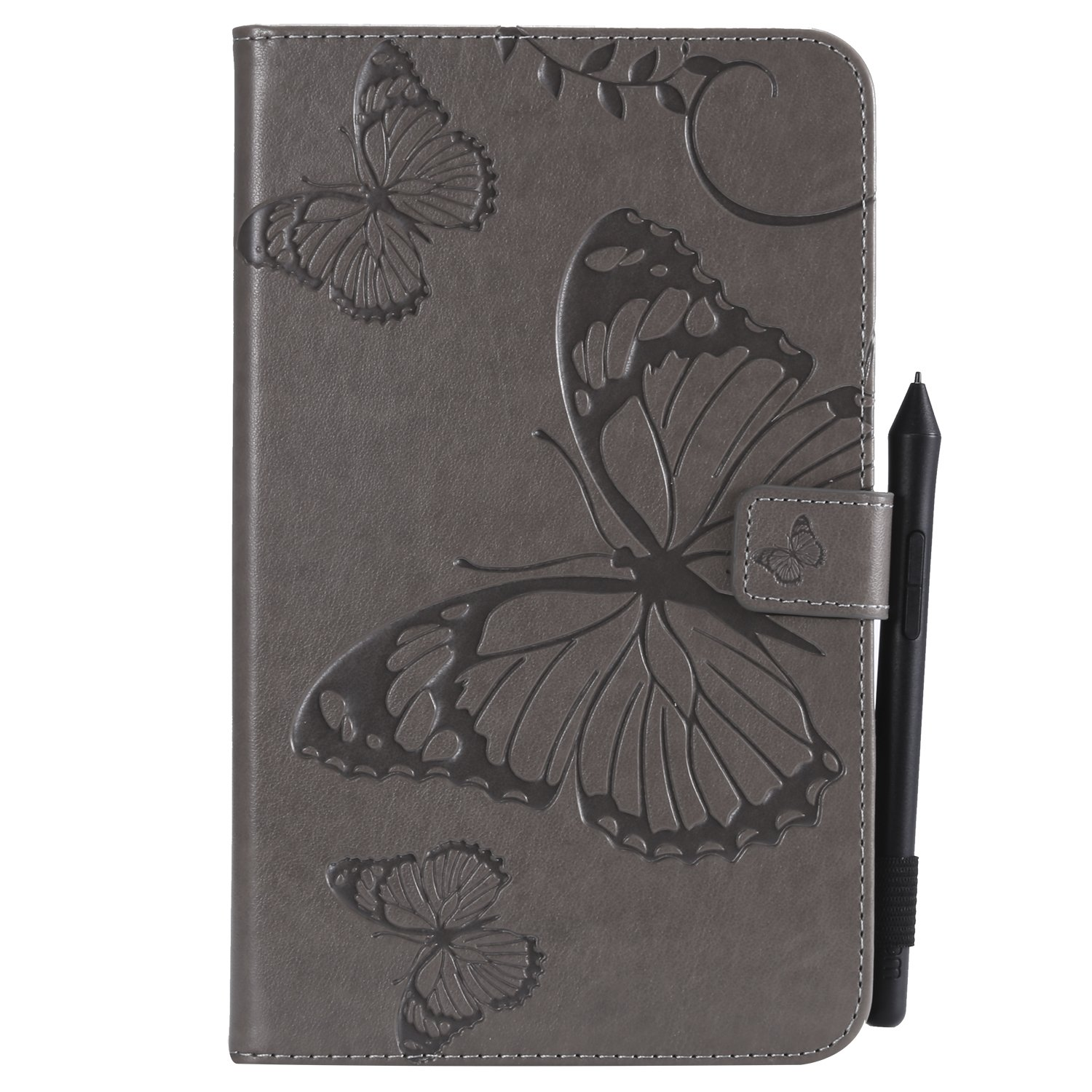 Bear Village Galaxy Tab a 2017 8.0 Inch Case, Butterfly Embossed Anti Scratch Shell with Adjust Stand, Smart Stand PU Leather Case for Samsung Galaxy Tab a 2017 8.0 Inch, Gray by Bear Village