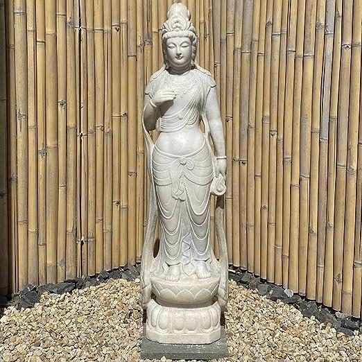 Asia Lifestyle Guanyin Jardín Buda Estatua (158 cm) Kwan Yin mármol piedra escultura: Amazon.es: Jardín