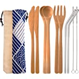 Blulu 2 Set Bamboo Cutlery Set Reusable Bamboo Flatware Set Travel Utensils 7.5 Inches Bamboo Knife, Fork, Spoon, Metal Straw with Clean Brush