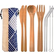 Blulu 2 Set Bamboo Cutlery Set Reusable Bamboo Flatware Set Travel Utensils 7.5 Inches Bamboo Knife, Fork, Spoon, Metal Straw with Clean Brush (Style A)