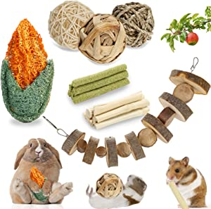 Navatiee Rabbit Toys, Bunny Chew Toys for Grinding Teeth 100% Natural Hand-Made Apple Wood Cake Timothy Hay Sticks Loofah Corn Toy for Bunny, Chinchillas, Guinea Pigs, Hamsters, Small Pets