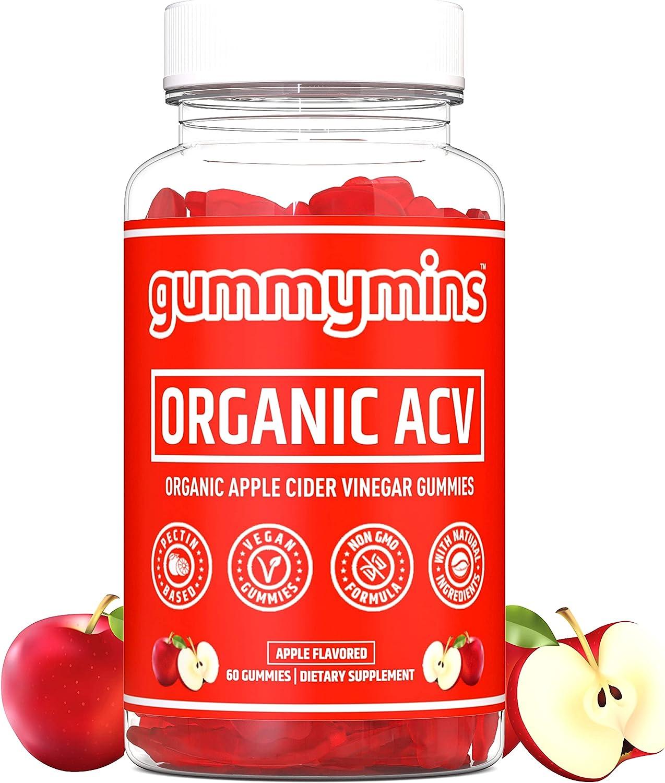 Gummymins™ Apple Cider Vinegar Gummies (Organic) | Premium Organic ACV Gummies | Certified Organic | Pectin Based, Vegan Gummies, Non-GMO Formula, with Natural Ingredients