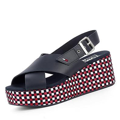 Tommy Jeans EN0EN00210403 Flatform Gingham Pattern Damen Sandale aus Glattleder Groesse 41 Blau