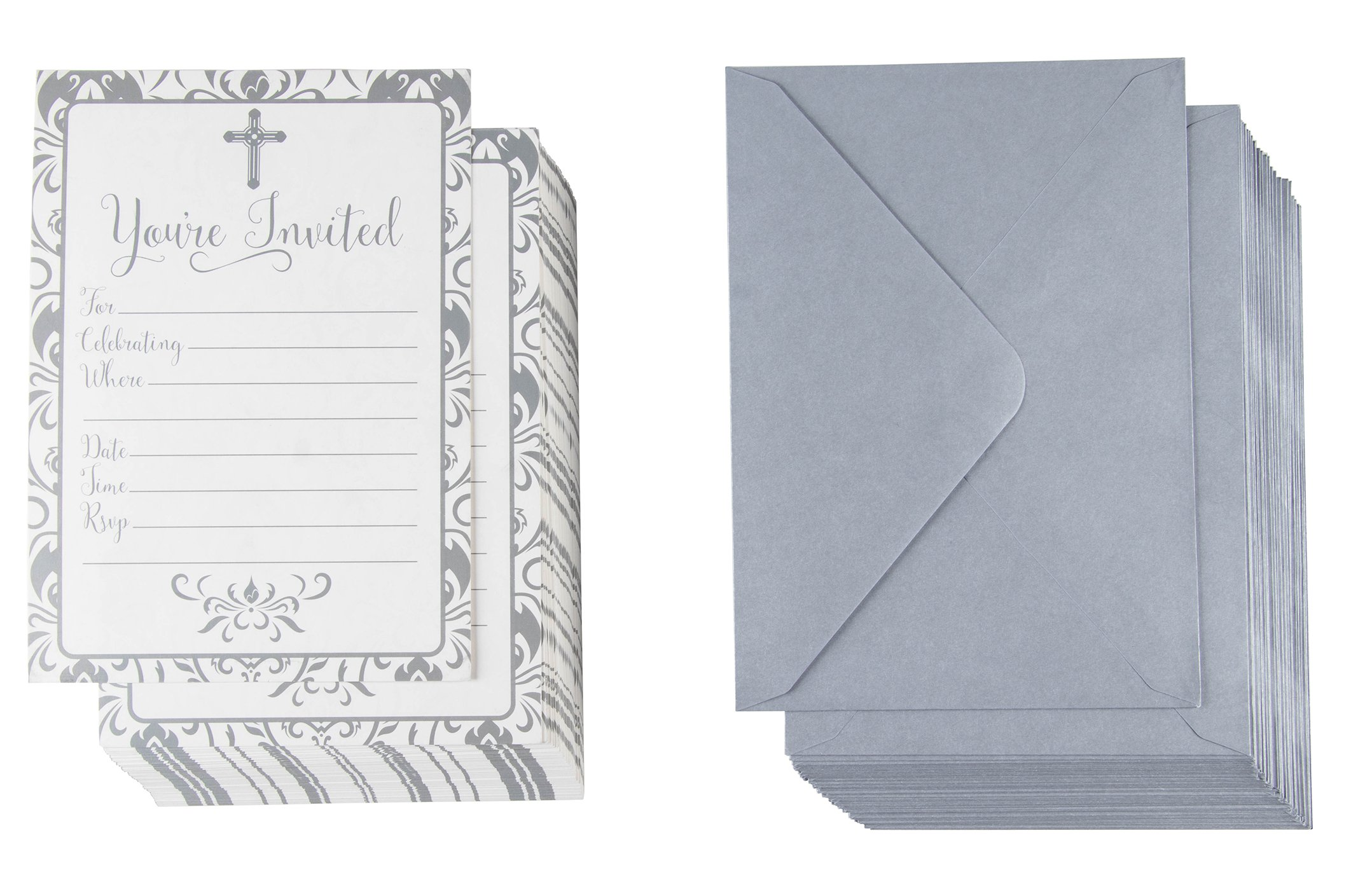 60-Pack Religious Invitations - Christian Invitation Cards, Silver Cross and Floral Pattern, Ideal for Funeral, Baptism, Christening, Church Events, V-Flap Envelopes Included, 5 x 7 inches by Best Paper Greetings