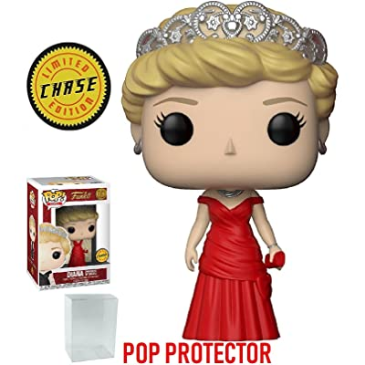 Funko Pop! Royals: The Royal Family - Diana Princess of Wales Red Dress Chase Variant Limited Edition Vinyl Figure (Bundled with Pop Box Protector Case): Toys & Games