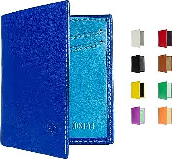 KOSETI - Cartera Hombre Azul | Regalo para Hombre | para Cualquier ocasión | 9 Colores Disponibles | Premium | 12 Tarjetas | Protección RFID y NFC | Hecha a Mano en España: Amazon.es: Equipaje