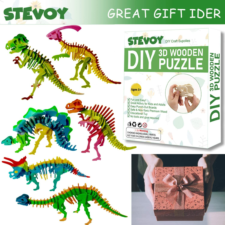 STEVOY DIY 3D Paint Wooden Puzzles Kit for Kids Educational Crafts Building STEM Model Paint Kit with Brush Toys for Children Pack of 6 Dinosaur