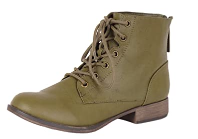 c96fbab8a81d4 Breckelle's Women's Georgia-43 Faux Leather Ankle High Lace Up Combat Boots,6  B