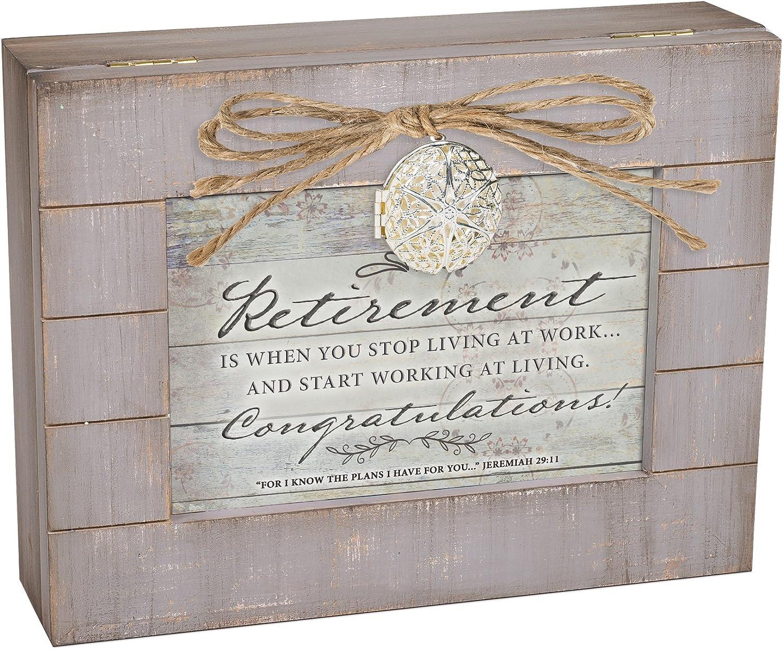 Cottage Garden Retirement Start Living Grey Distressed Locket Music Box Plays Amazing Grace