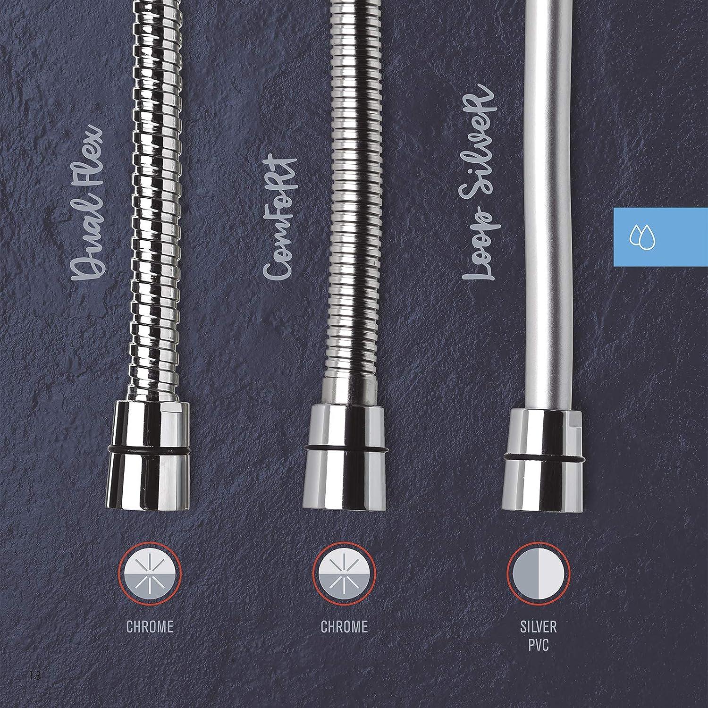 Flessibile Doccia in PVC TATAY Loop Silver Lunghezza 1.5m Acciaio e Ottone di Alta Qualit/à Antiblocco e Antitorsione a 360/º