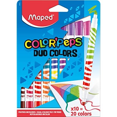Maped Color'Peps DUO Tip Ultrawashable Markers, Assorted Colors, Pack of 10 (847010): Office Products