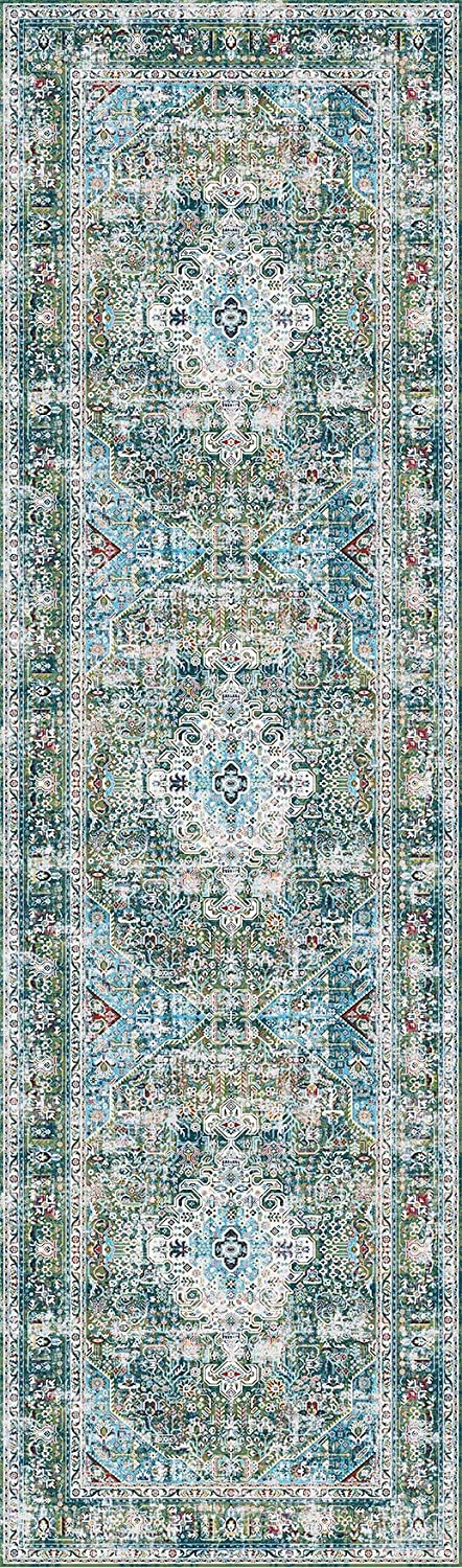 Decomall Traditional Vintage Bohemian Distressed Abstract Area Rug Runner for Hallway Kitchen Living Room Bedroom 26x9 Green Multicolor